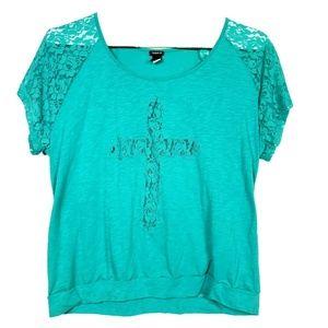 Torrid 4X Blue Shirt Top Raglan Sleeve Floral Lace